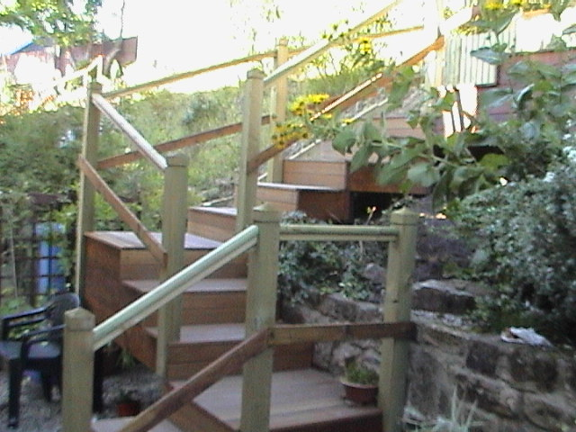 Steps constructed to give access to inaccessible garden (below)