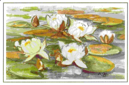 """Waterlilies"" scanned from the cover of the card based on the original painted by Anja Numminer"