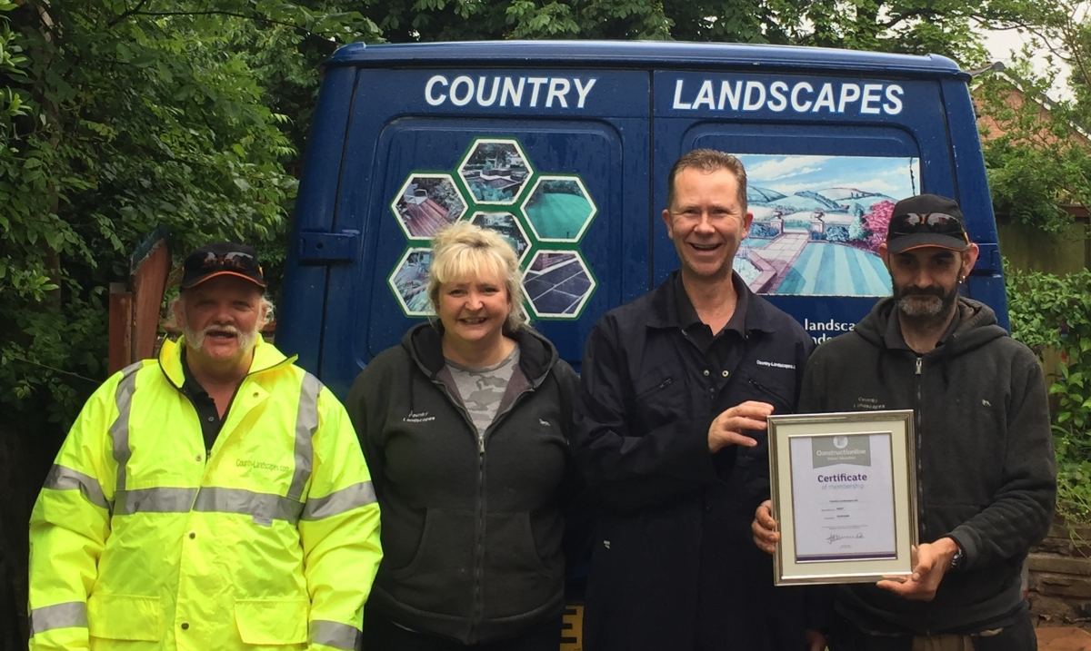 Country Landscapes Constructionline approved gardening team - NVQ NPTC RHS LCGI qualified gardeners